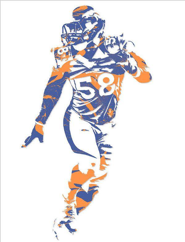 Von Miller Denver Broncos Pixel Art 10 Art Print by Joe Hamilton ...