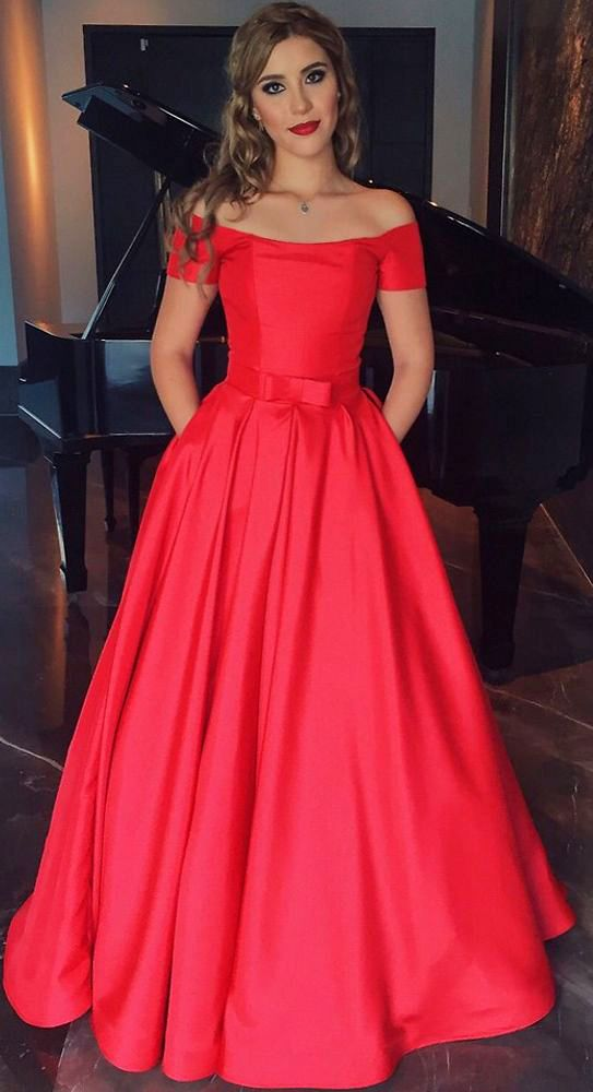 Off the Shoulder Red Long Prom Dress Satin Formal Evening Gown ...