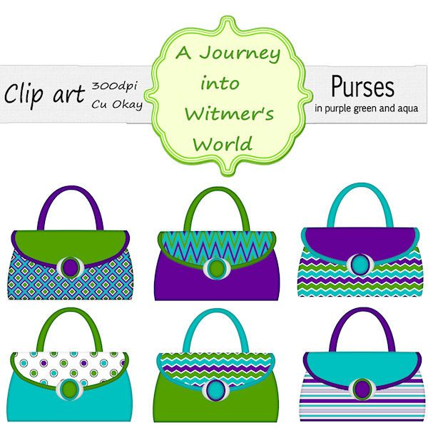 6 purses clipart in purple green and aqua cu okay clip art rh pinterest com