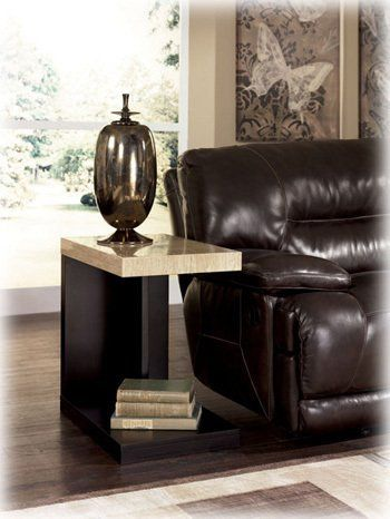 """Contemporary Dark Brown Chair Side End Table by Famous Brand Furniture. $132.26. Faux travertine thick top has a durable polyurethane finish. Contemporary Style.. Clean cantilever design. Dimensions: Inches: 30""""W x 20.5""""D x 10.25""""H. Balance finished in a dark brown finish. Make a statement with your home's decor by accenting it with stunning contemporary design of the """"Landyn"""" accent table collection featuring a thick and durable faux travertine table top supported by..."""