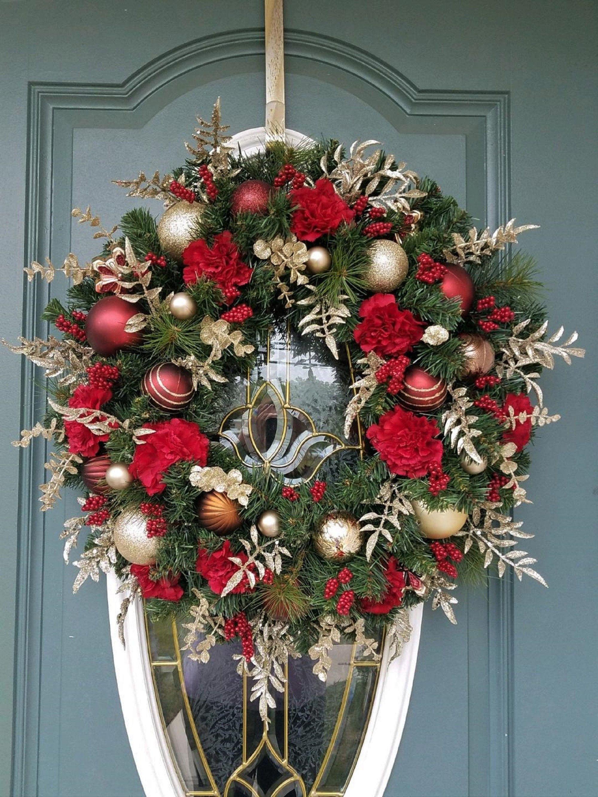 Holiday Wreath Peony Wreath 24 Inch Wreath for Door Large Wreath Front Door Wreath Porch Decor Christmas Wreath Christmas Door Decor