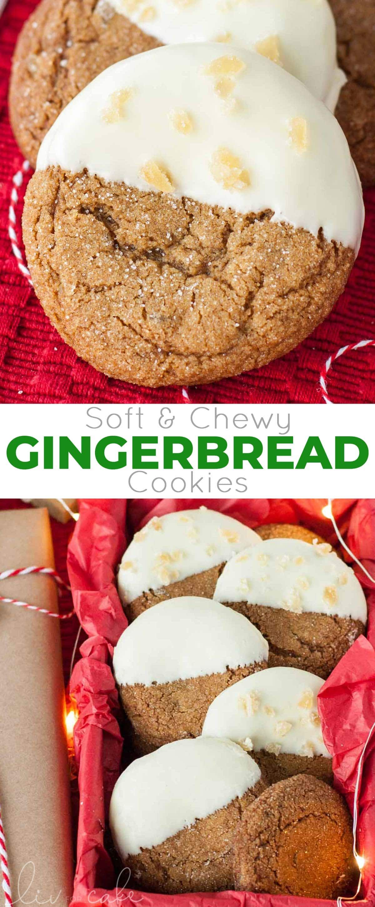 Snow Capped Gingersnaps (Chewy Gingerbread Cookies) | Liv for Cake