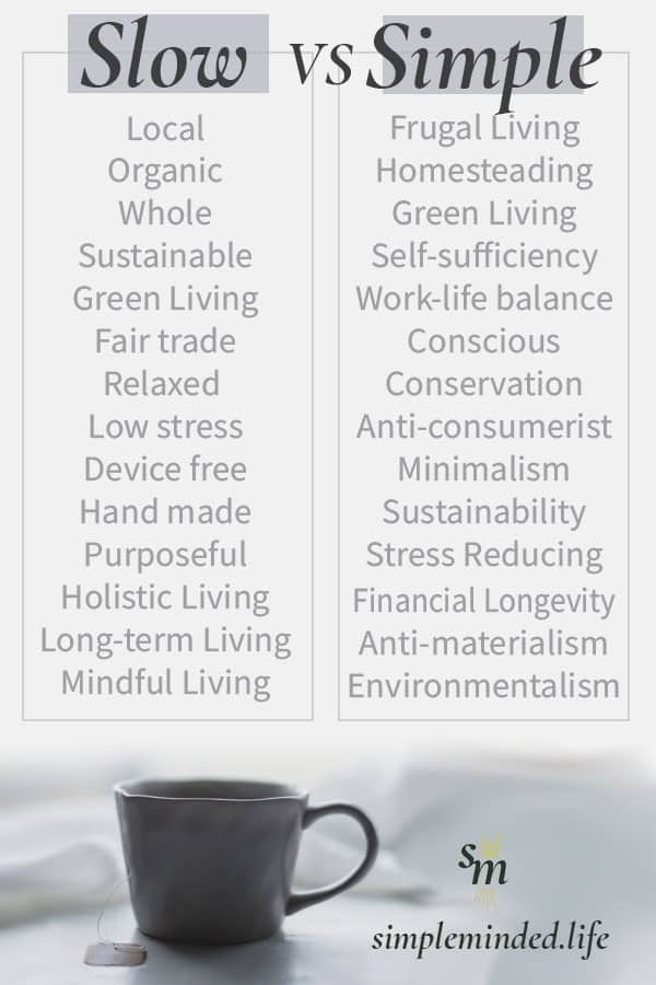 With simple living one aims to reduce their belongings, live more frugally and/or be more self-sufficient. However, with slow living the main goals are to live more sustainably, support local organic businesses and most importantly – slow down. Which is right for you?  #simpleliving #slowliving #minimalism #selfsufficiency  #mindfulliving #frugality #sustainability