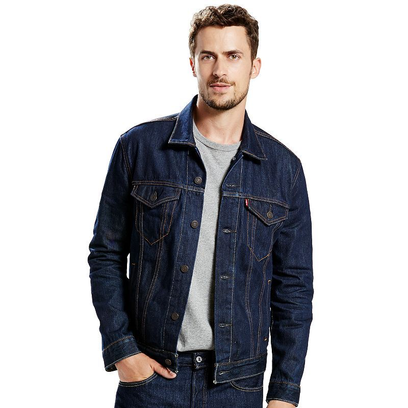 Men S Levi Sa Trucker Denim Jacket Size Medium Dark Blue Denim Jacket Mens Outfits Trucker Jacket Men