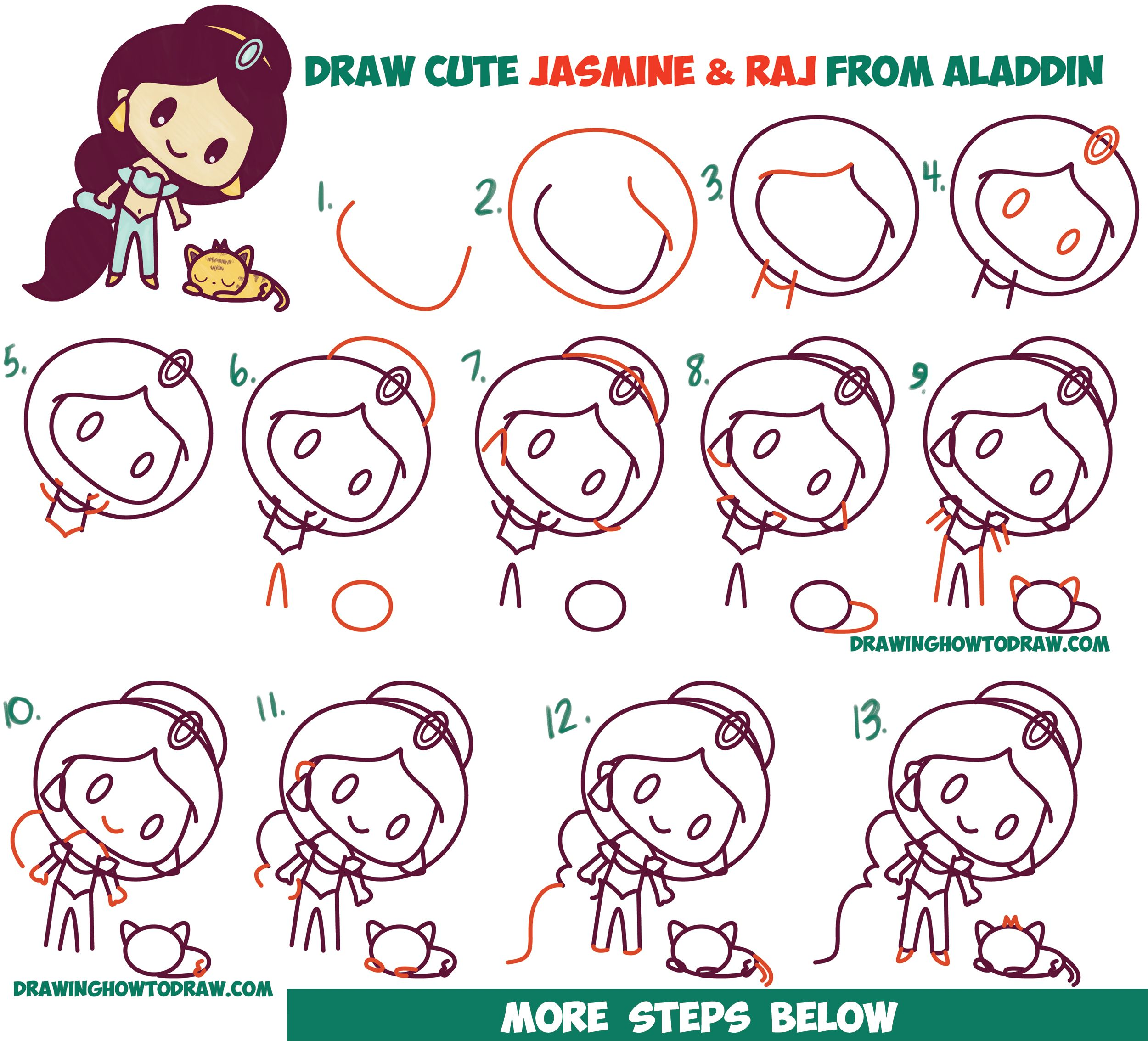 How To Draw Cute Chibi Kawaii Jasmine Raj The Tiger From Aladdin With Easy Step By Step Drawing Tutorial For Kids How To Draw Step By Step Drawing Tutoria