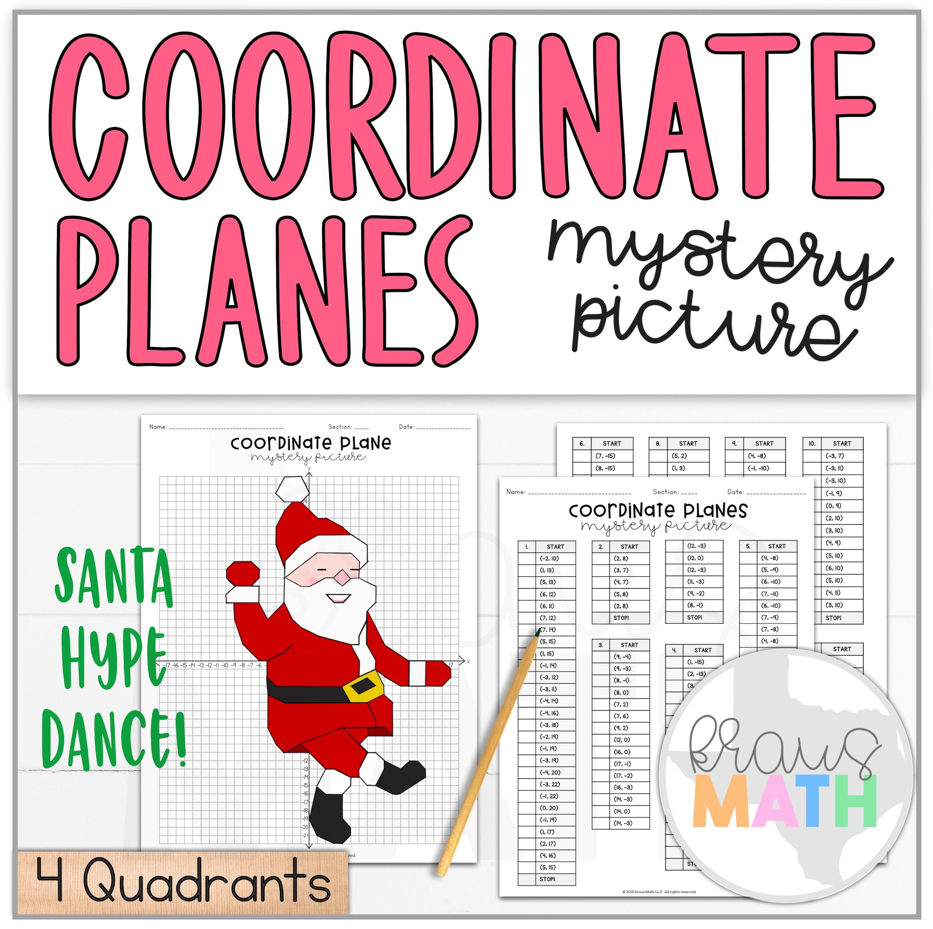 Santa Hype Dance Coordinate Plane Activity 4 Quadrants
