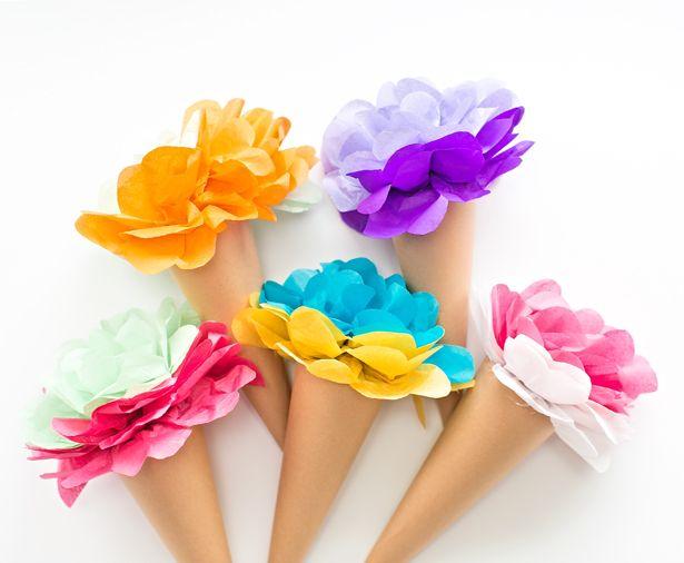 MAKE TISSUE PAPER ICE CREAM CONE FLOWERS