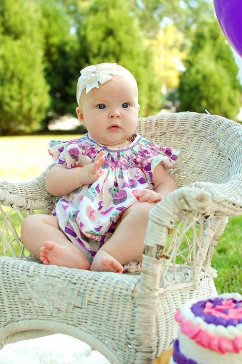 Baby Girl First Birthday Party Bubble Romper Hand Smocked Cupcake Summer Sister Matching Clothing