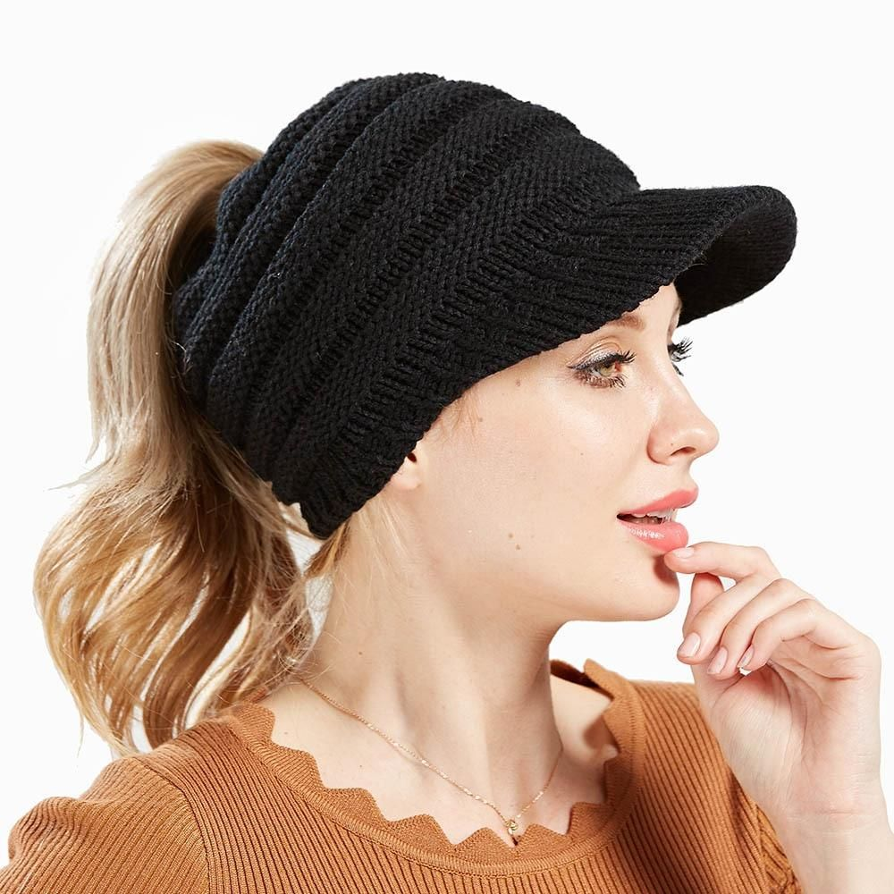 Messy Bill Beanie Advanzdeals Knitted Hats Ponytail Beanie Winter Hats For Women