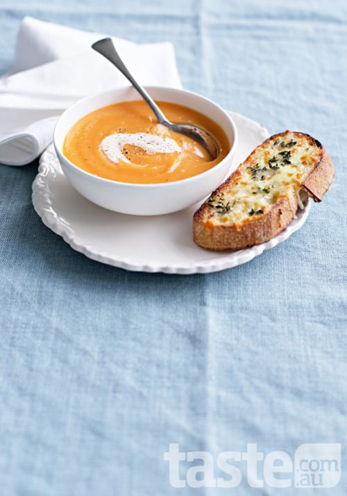 *sweet potato soup with cheese & thyme toast