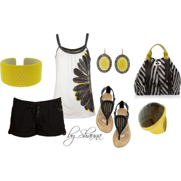 Black and white with pops of dark yellow, created by shauna-rogers on Polyvore