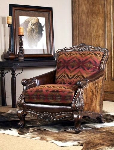 Native American Tapestry And English Leather Lounge Chair