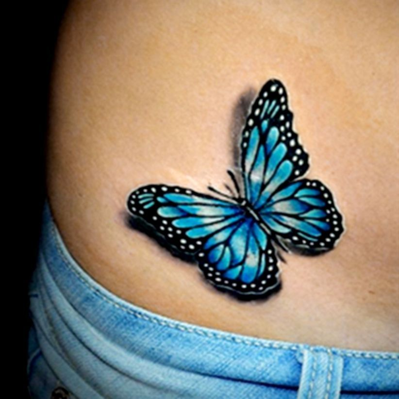 45 Cool 3d Tattoo Ideas For Men And Women Blue Butterfly Tattoo Realistic Butterfly Tattoo Butterfly Tattoos For Women