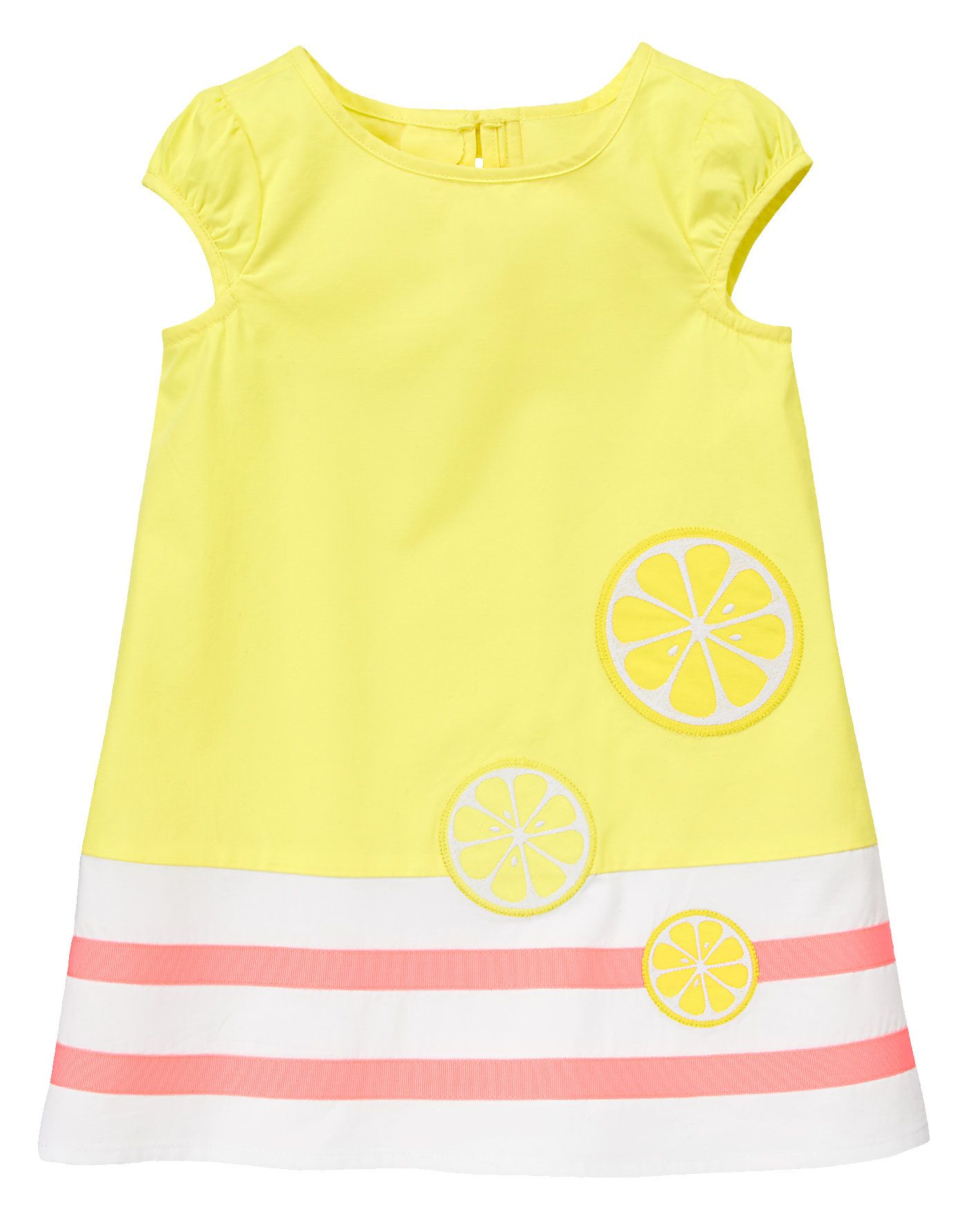 Baby girl looks refreshingly sweet in our colorblocked lemon dress