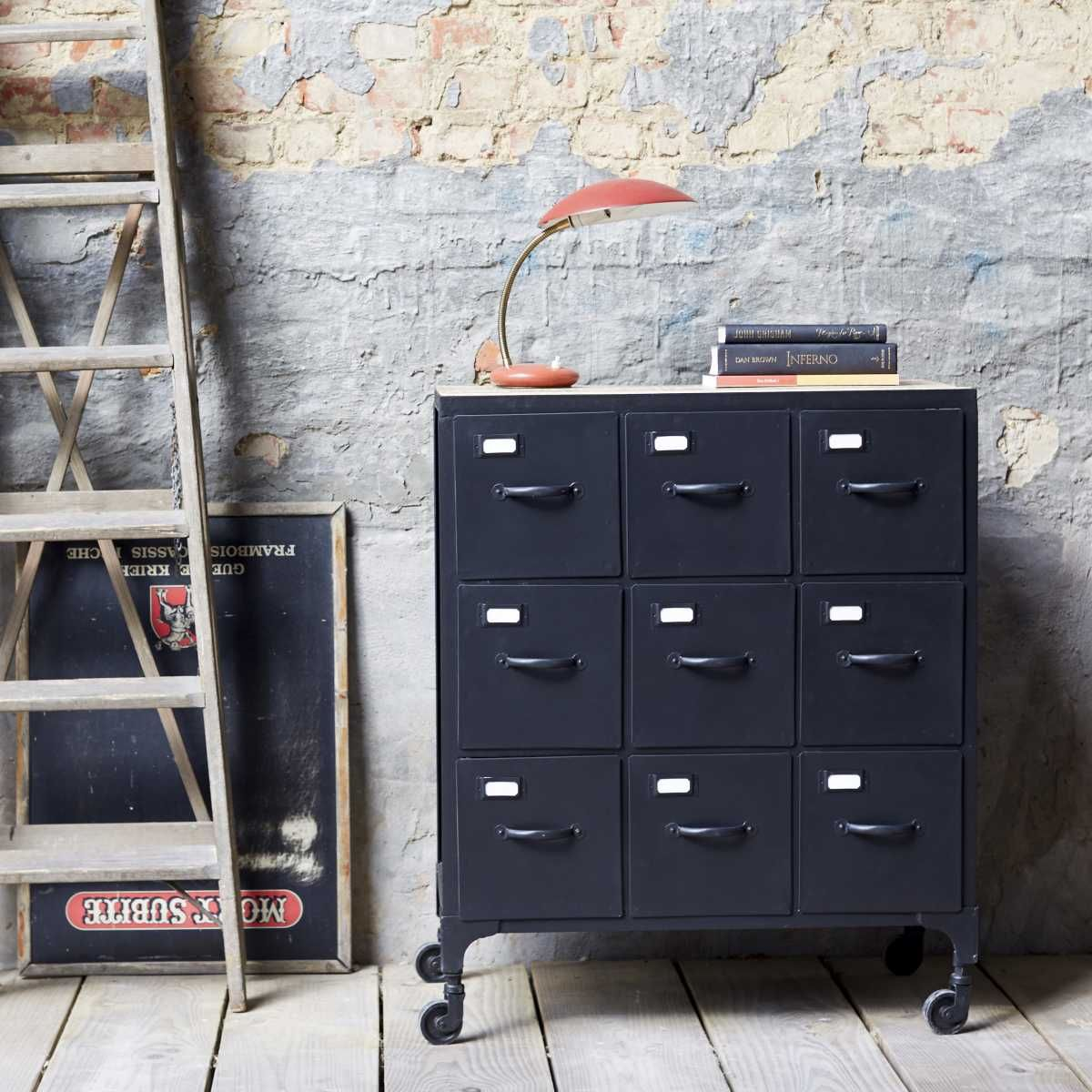 metal chest of drawers industrial style chest of 9 drawers sale tikamoon
