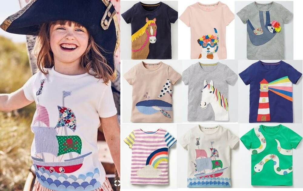 baby cotton applique long sleeve top Mini Boden boys shirt age 1-12 NEW