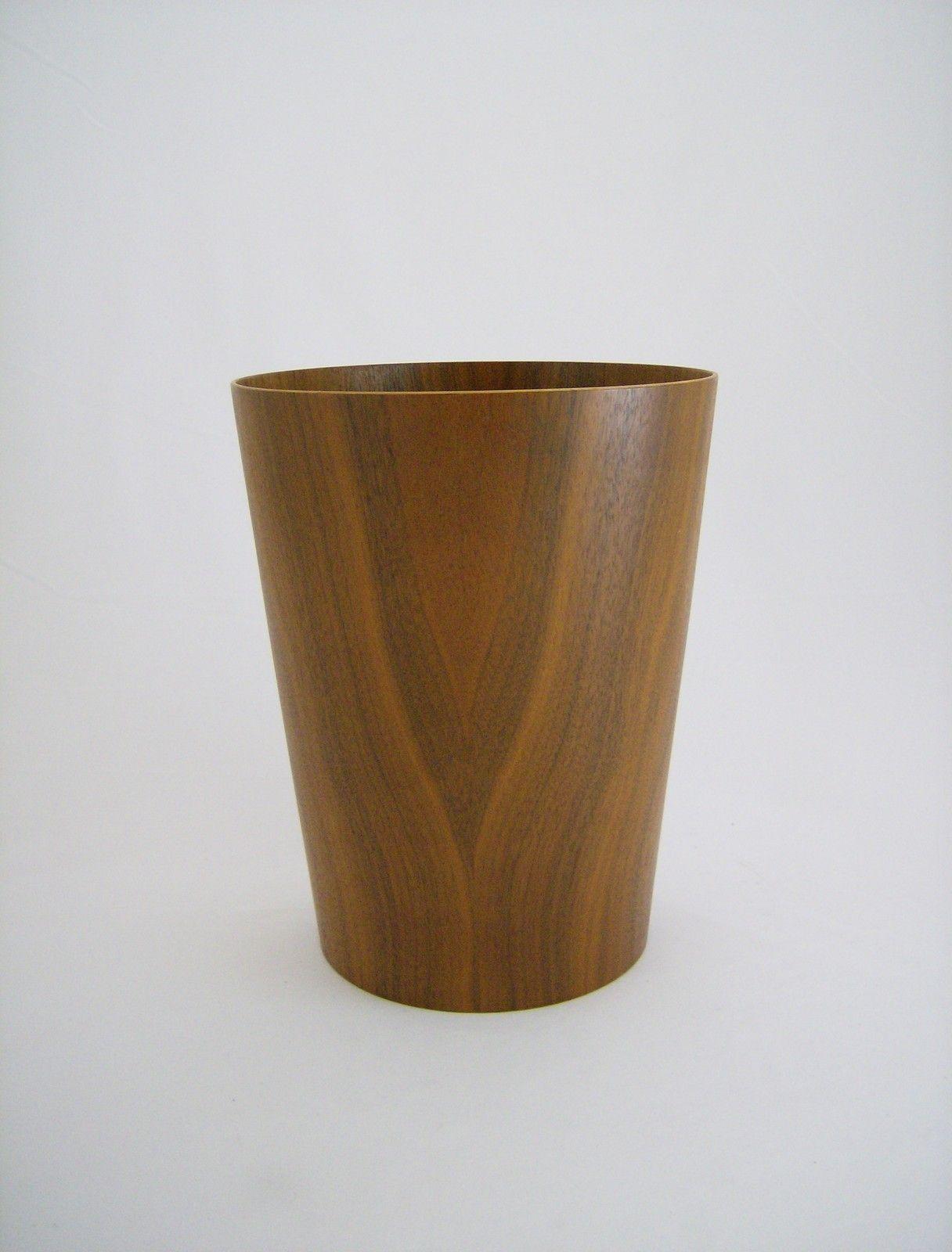 Walnut Waste Paper Basket Trash Can Made in Sweden Vtg Mid Century Danish Modern