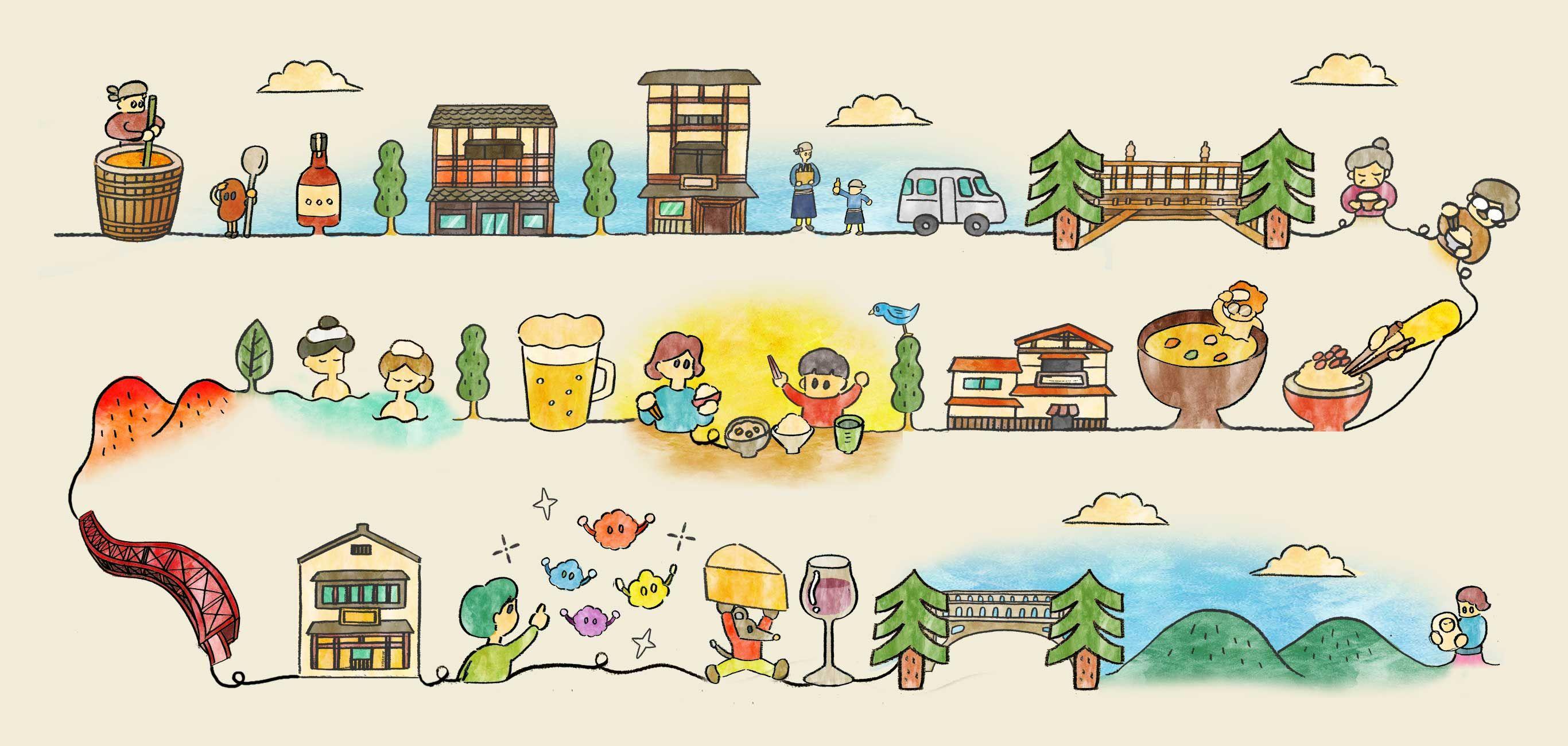 山中温泉 加賀地酒蔵 辻酒販 イラストレーター イラスト
