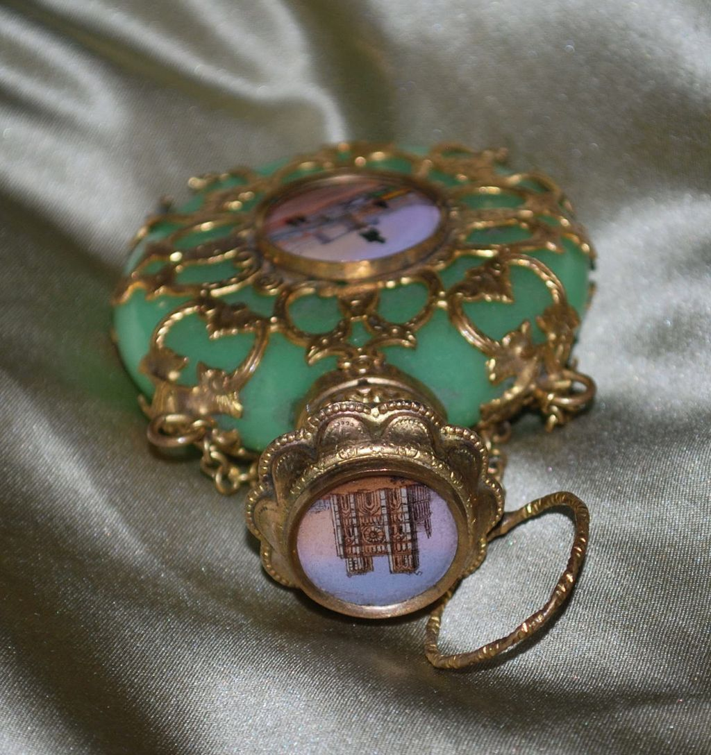 Antique French 19th Century Eglomise Green Opaline Scent Chatelaine Perfume Bottle