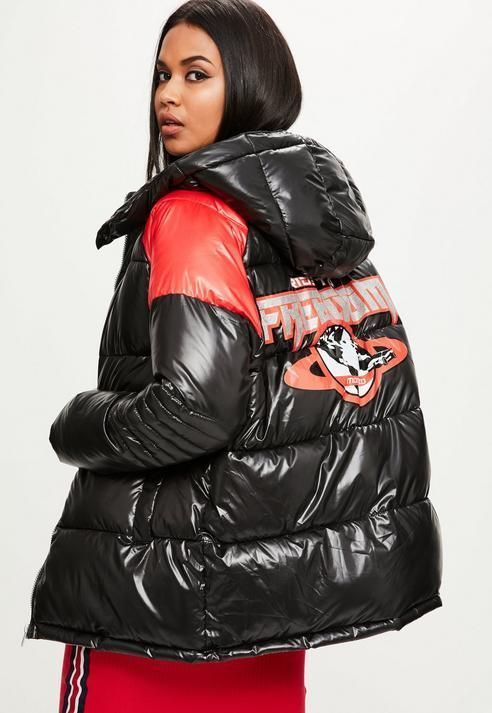 73f89665235 Missguided Black Ride To Freedom Puffer Jacket