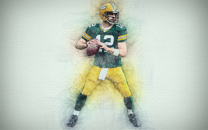 Download Wallpapers Aaron Rodgers 4k Artwork American Football Green Bay Packers Nfl Quarterback Drawing Aaron Rodgers Besthqwallpapers Com American Football Aaron Rodgers Football