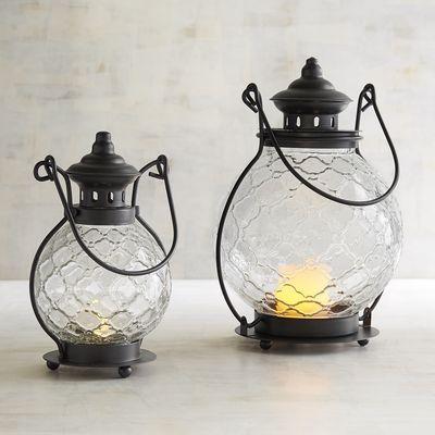 Clear Medallion Glass Lanterns   Pier 1 Imports