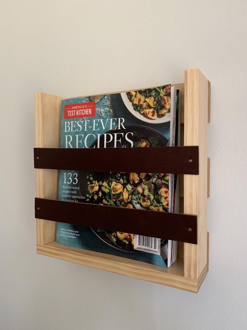 Magazine Rack With Leather Accents Wall Mounted Magazine Etsy In 2020 Diy Magazine Holder Magazine Holders Magazine Rack