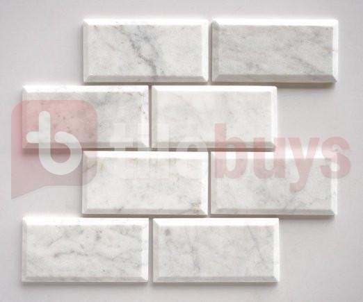 Bianco Carrara White Marble 3x6 Beveled Subway Tile Polished