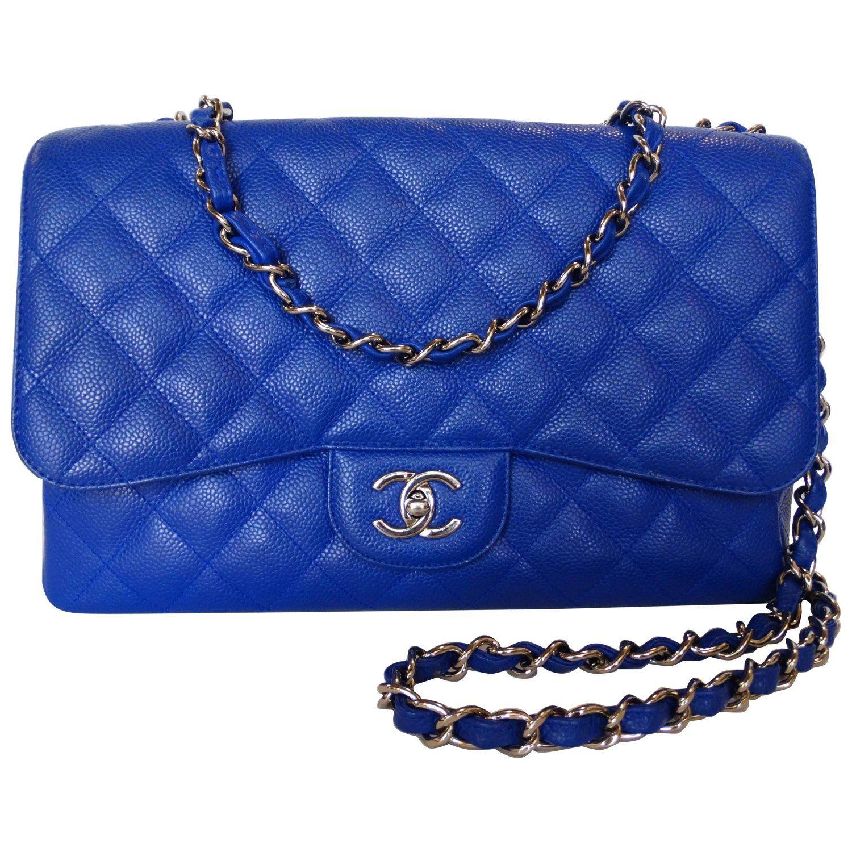 19a65f0ae731 Rare 2010 Chanel 10c Bleu Roi Caviar Jumbo Shoulder Bag