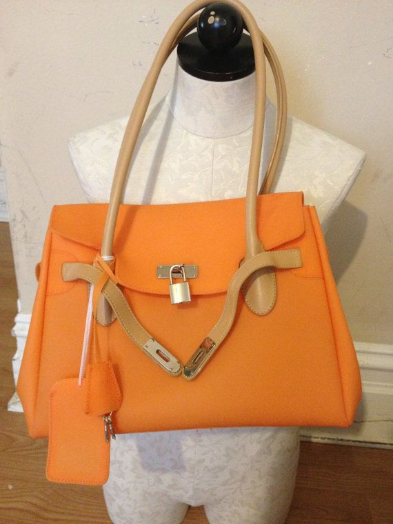 cbb32274190 SALE rubber BIRKIN bag orange plastic jelly soft purse handbag lock key  handle kelly