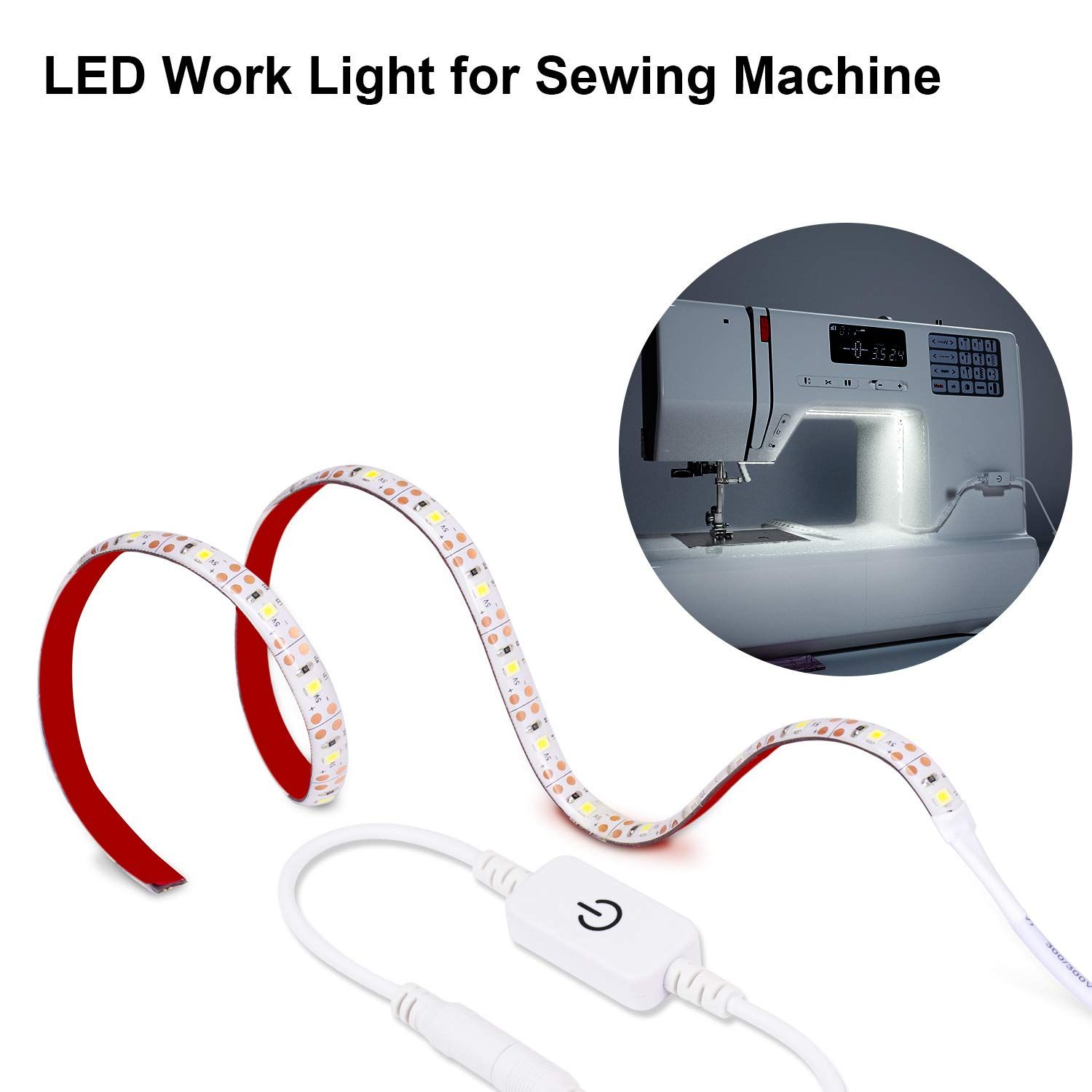 Sewing Machine Light,30 LED Lighting Strip kit with Touch dimmer and USB Power,Flexible Soft 3M Tape Natural Light White,Suitable for All Sewing Machines
