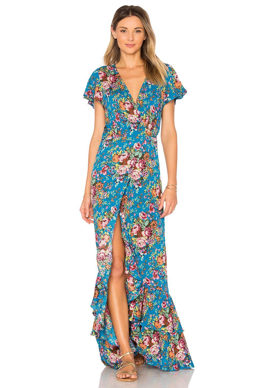 AUGUSTE Beach House Frill Dress in Long beach Floral Blue | Beach ...