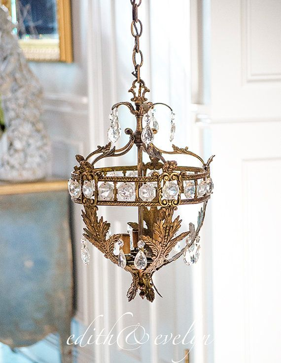 Antique french basket chandelier petite size dripping in crystals aloadofball Choice Image