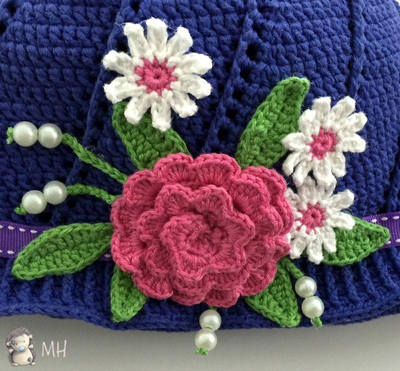 Gorro a crochet con flores para niñas, ¡patrón gratis! | Patrón ...