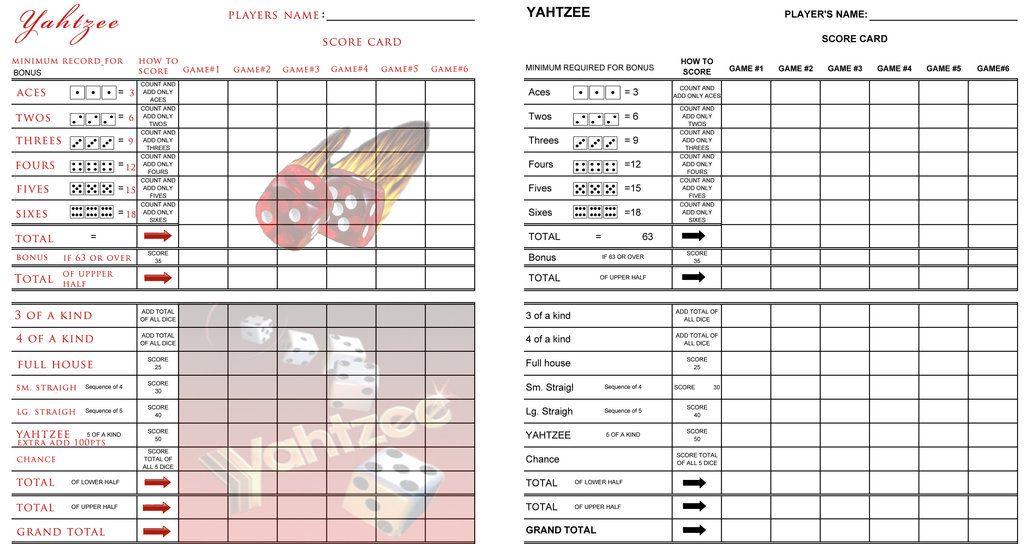 A Yahtzee Score Sheet Printable Invasionpoker  Printables