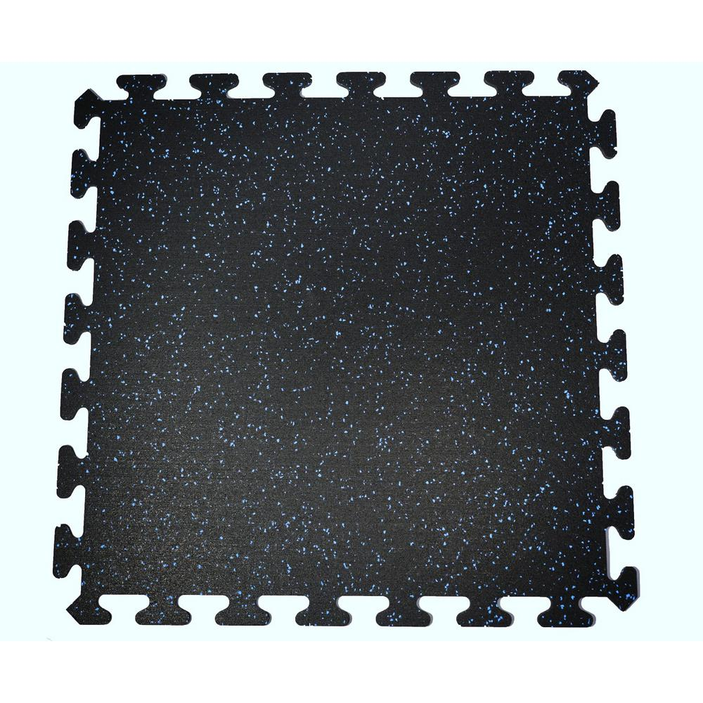 Mats Black With Blue Speck 24 In By 24 In Interlocking Recycled