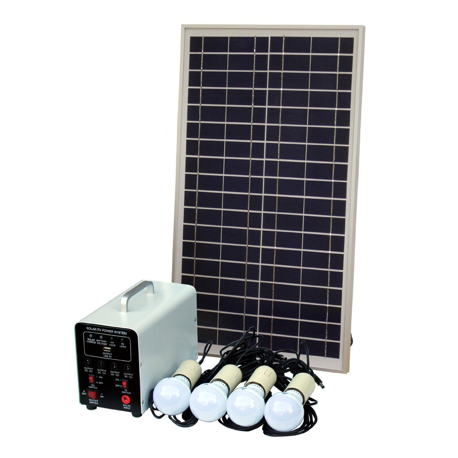 25w Off Grid Solar Lighting System With 4 X 5w Led Lights Panel Battery And Cables Complete Kit For A Shed Garage Outhouse