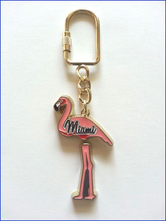Miami, Florida Pink Flamingo souvenir key chain.