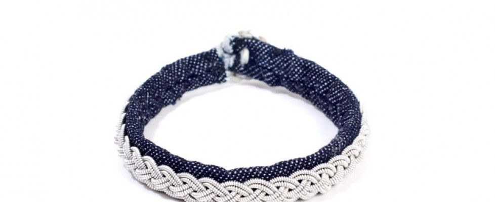Denim and pewter in classic bracelets