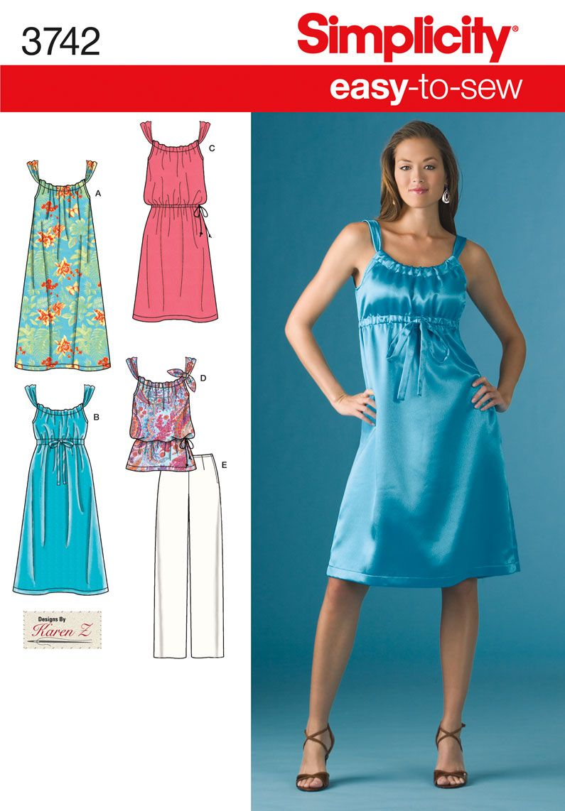 Womens And Petite Dress Sewing Pattern 3742 Simplicity Sewing