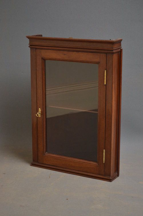 Antique Wall Cabinet | Sn3207a Small. wall hanging corner display cabinet  in good original . - Antique Wall Cabinet Sn3207a Small. Wall Hanging Corner Display