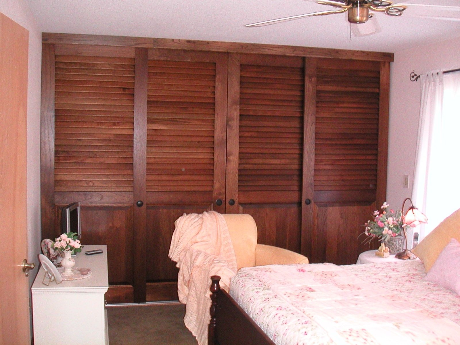 Custom sized sliding closet doors 2 1 2 fixed plantation louvers over colonial raised panels - Plantation louvered closet doors ...