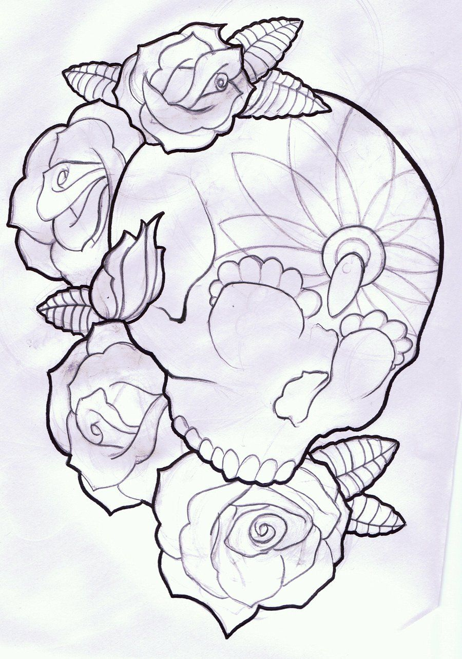 Candy Skull And Roses Tattoo Design By Thirteen7s On Deviantart Skull And Rose Drawing Candy Skull Tattoo Rose Tattoos