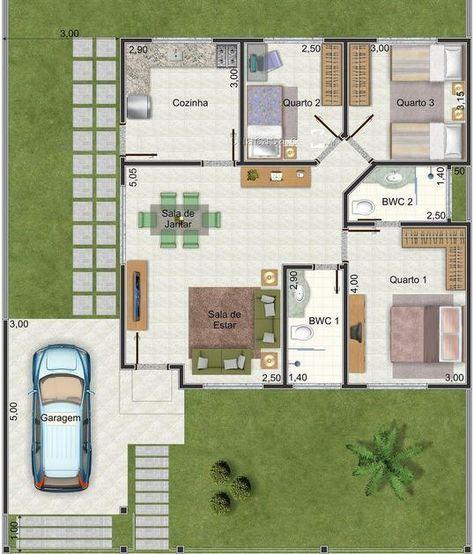 Plano de casa muy linda con 3 dormitorios y 95 m2 2 for Hechuras de casas