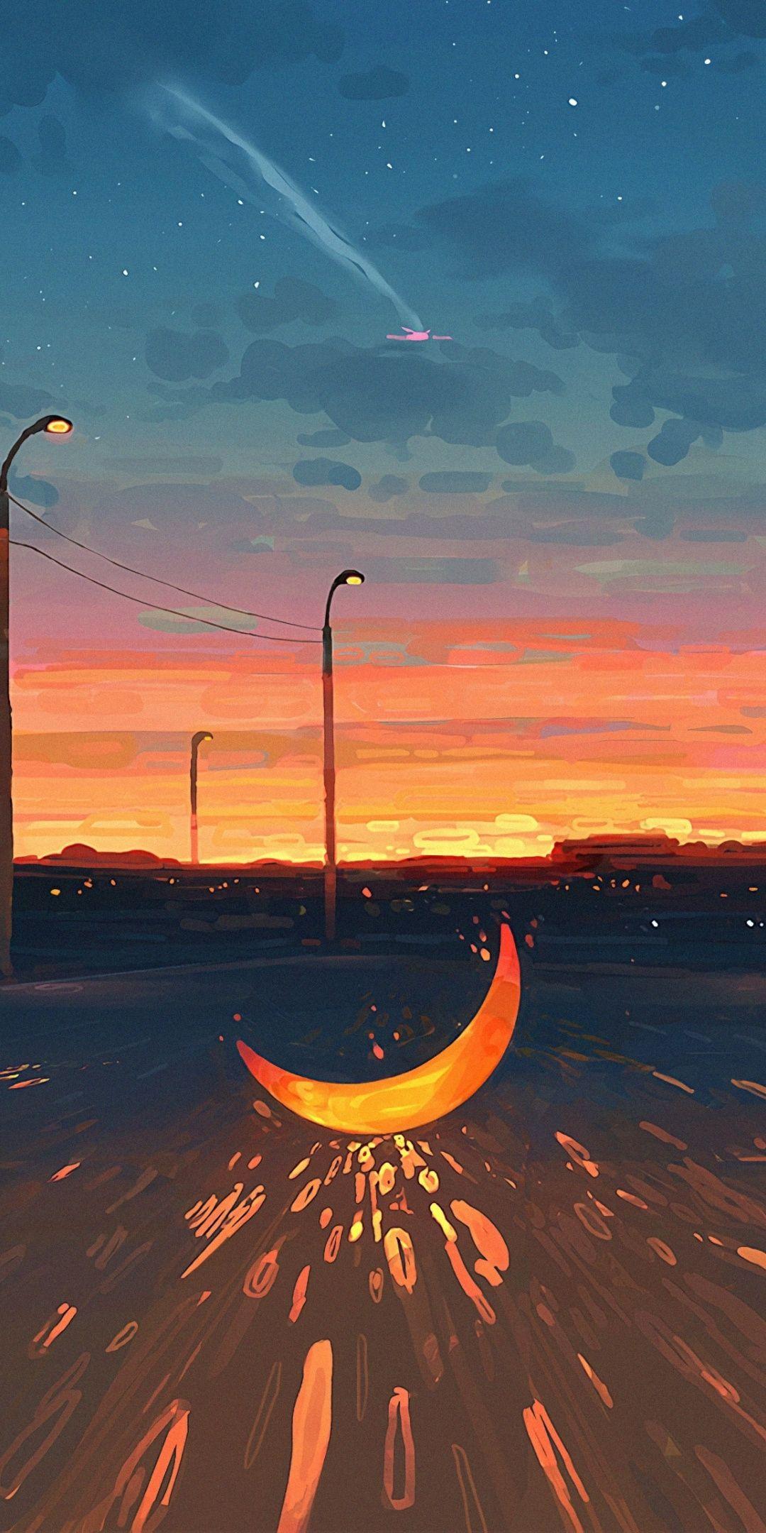 1080×2160 Moon on road, sunset, art wallpaper