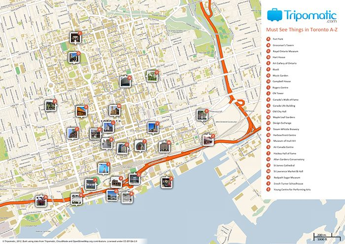 awesome Toronto Map Tourist Attractions Travelquaz Pinterest