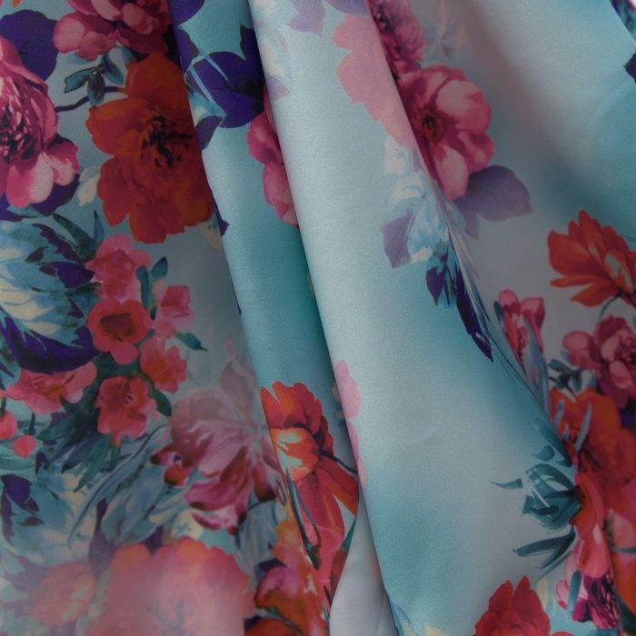 Tecido cetim italiano azul aruba floral - Maximus Tecidos  57a129f5ae480