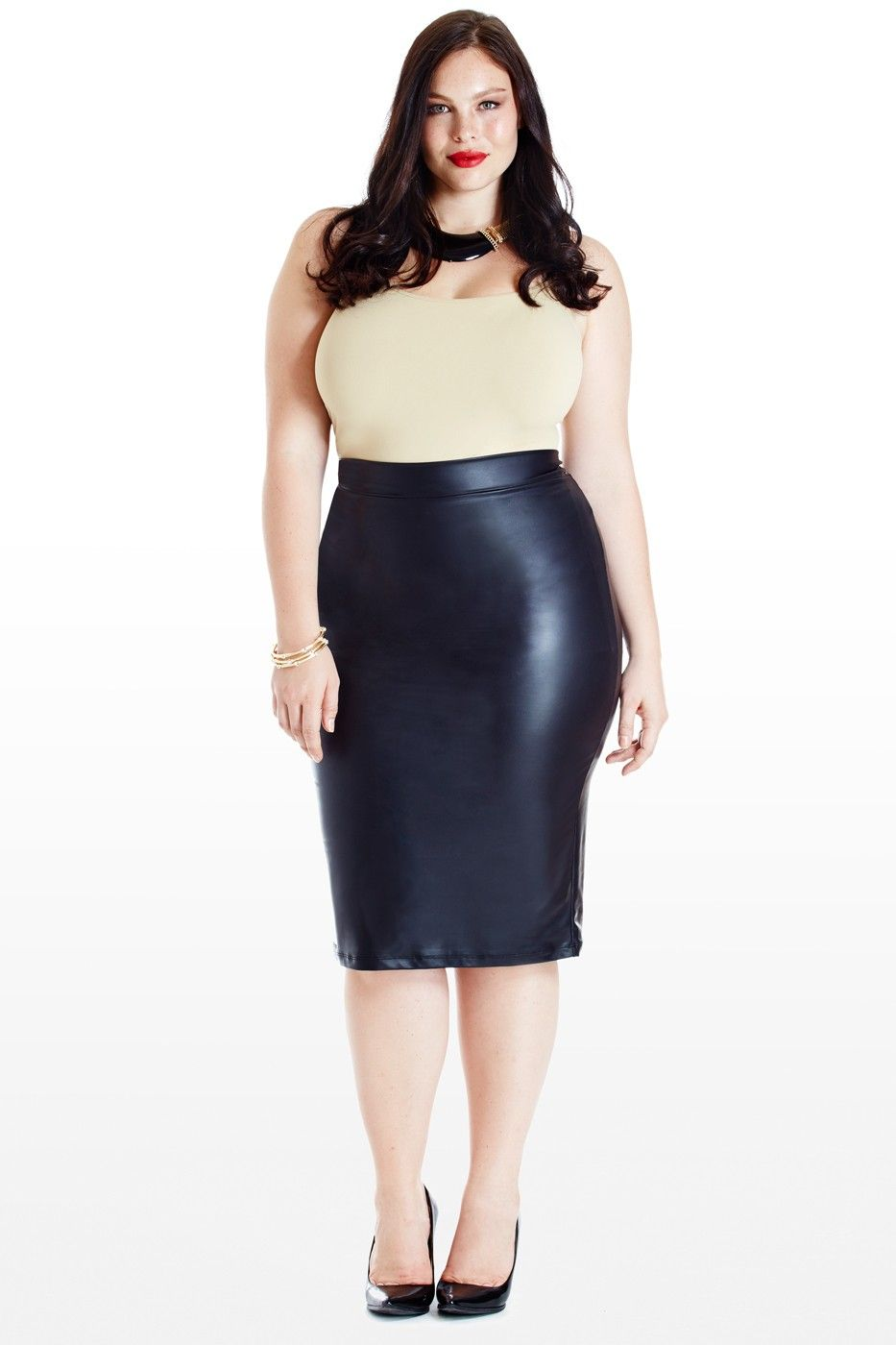14391d619a832 Plus Size Clothing New Arrivals. Lusty Faux-Leather Midi Pencil Skirt