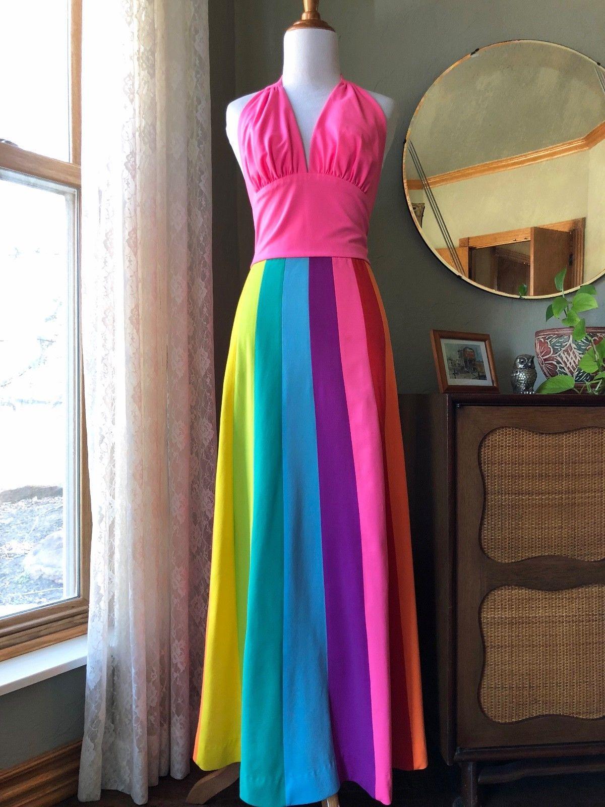 60s Deweese Design Dress Set 2 Piece Beach Halter Maxi Skirt Rainbow 70s Vintage Ebay Set Dress Designer Dresses Dresses [ 1600 x 1200 Pixel ]