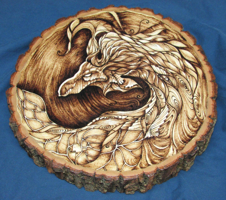 TREE DRAGON SPIRIT Wood Burned Pyrography Art 12 by BrianImlayArt